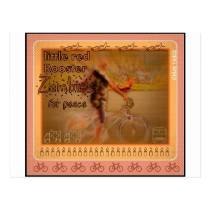 """""""Little Red Rooster ZOMBIE for Peace"""" Post Card"""
