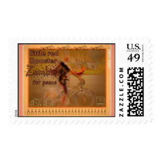 """""""Little Red Rooster ZOMBIE for Peace"""" Postage Stamp"""