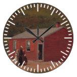 Little Red School Cabbin by Winslow Homer Large Clock