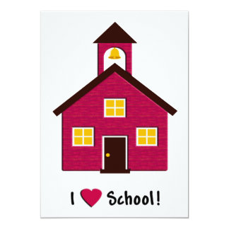 Little Red School House I Love School Card