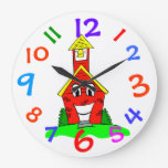 Little Red School House Kids Room Wall Clock