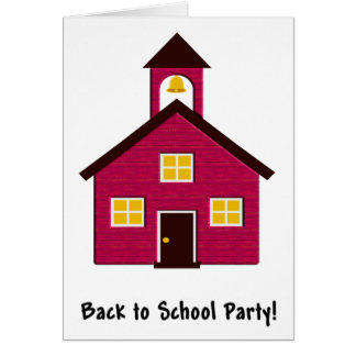 Little Red Schoolhouse Back to School Party Card