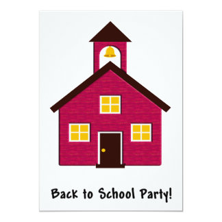 Little Red Schoolhouse Back to School Party 5x7 Paper Invitation Card
