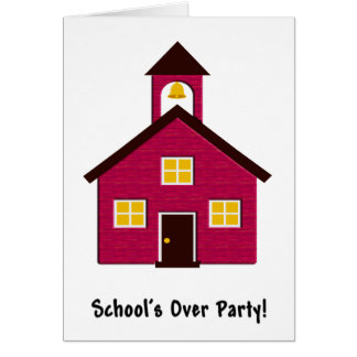 Little Red Schoolhouse End of School Party Card