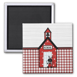 Little Red Schoolhouse Gingham 2 Inch Square Magnet