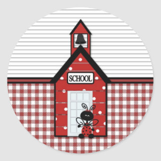 Little Red Schoolhouse Gingham Classic Round Sticker