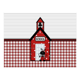 Little Red Schoolhouse Gingham Postcard