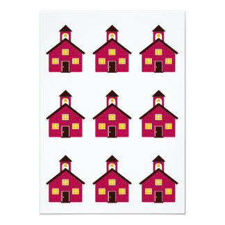 Little Red Schoolhouse 5x7 Paper Invitation Card