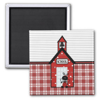 Little Red Schoolhouse Plaid Refrigerator Magnet