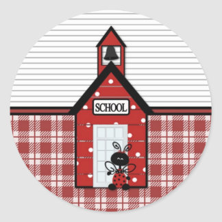 Little Red Schoolhouse Plaid Classic Round Sticker