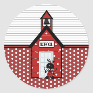 Little Red Schoolhouse Polka Dots Classic Round Sticker