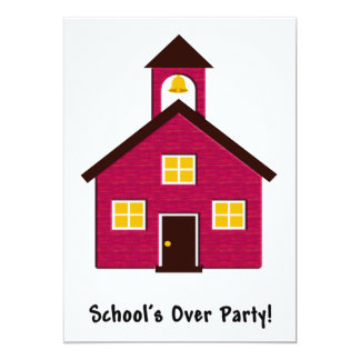 Little Red Schoolhouse School's Over Party 5x7 Paper Invitation Card