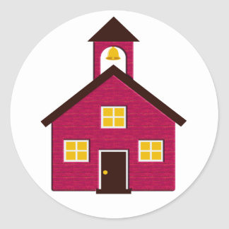 Little Red Schoolhouse Classic Round Sticker