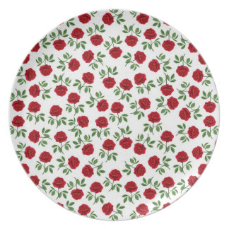 Little Red Tea Roses Plate