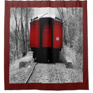 Little Red Train Caboose Shower Curtain
