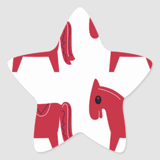 Little red Unicorns animals Star Sticker