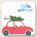 Little Red Vintage Car With Christmas Tree On Top Beverage Coaster