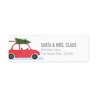 Little Red Vintage Car With Christmas Tree On Top Label