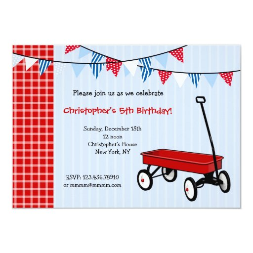 "Little Red Wagon Birthday Party Invitations 5"" X 7"" Invitation Card"