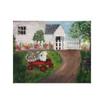 Little Red Wagon Print Stretched Canvas Prints
