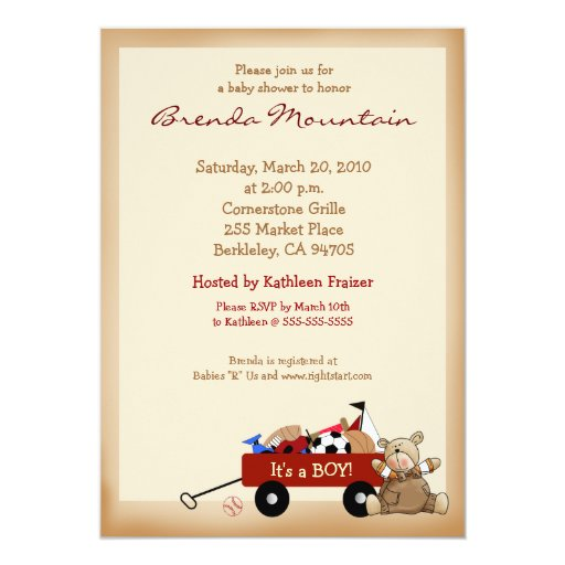 Little Red Wagon Sports Theme Boy Baby Shower Card
