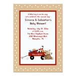 "Little Red Wagon & Teddy Bear 5x7 Invite 2-sided 5"" X 7"" Invitation Card"