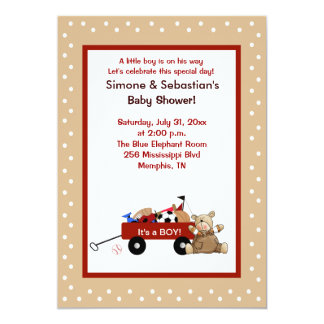 Little Red Wagon & Teddy Bear 5x7 Invite 2-sided