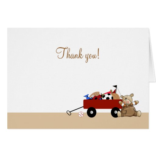 Little Red Wagon Teddy Bear Folded Thank you notes