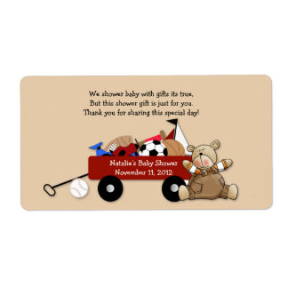 Little Red Wagon Teddy Bear Label Sticker - Large