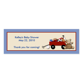 Little Red Wagon TEDDY BEAR Party Favor Tag Double-Sided Mini Business Cards (Pack Of 20)