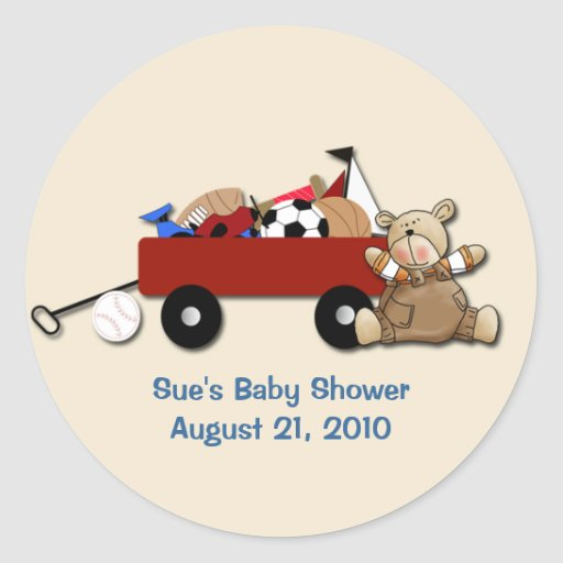 Little Red Wagon Teddy Bear Sports Custom Sticker
