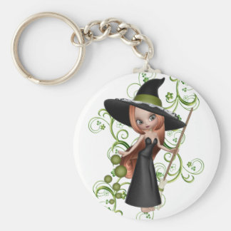Little Redhaired Witch with Green Vines Design Basic Round Button Keychain