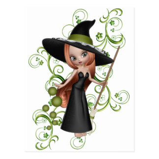 Little Redhaired Witch with Green Vines Design Postcard
