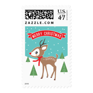 Little Reindeer Christmas Postage Stamps