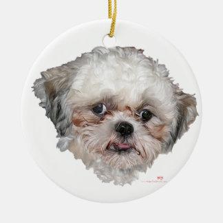 Little Rescued Shih Tzu Head Study Ornament