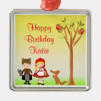 Little Riding Hood Birthday Celebration Metal Ornament