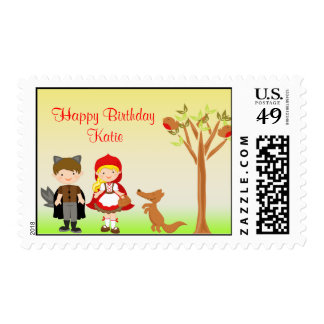 Little Riding Hood Birthday Celebration Postage Stamps