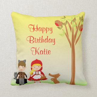 Little Riding Hood Birthday Celebration Throw Pillow