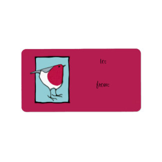 Little Robin blue Gift Tag Label