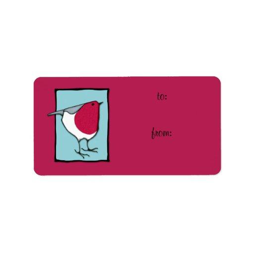 Little Robin blue Gift Tag Label