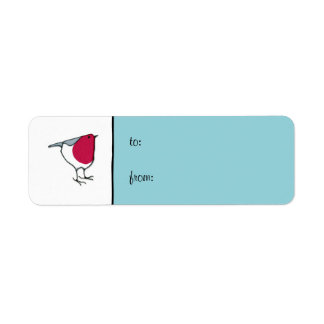 Little Robin blue small Gift Tag Label