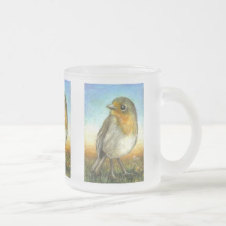 Little Robin Frosted Glass Coffee Mug