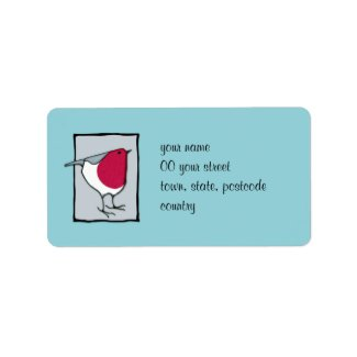 Little Robin grey Address Label label