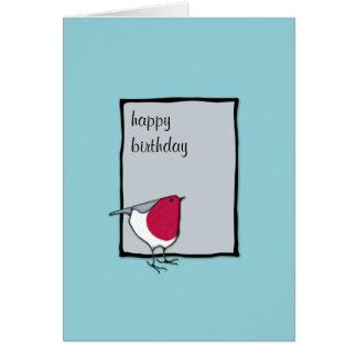 Little Robin grey Birthday Card