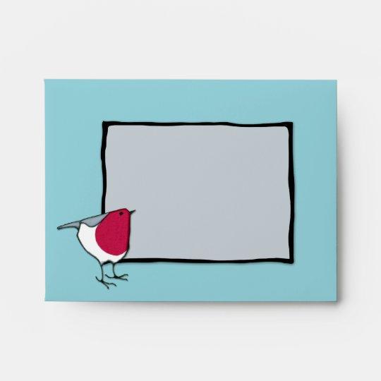 Little Robin grey Note Card Envelope