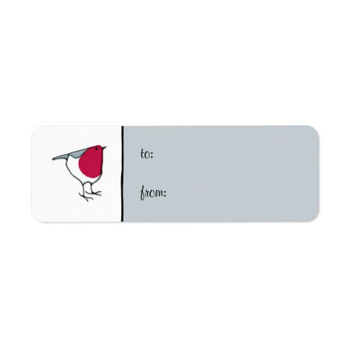 Little Robin grey small Gift Tag Label