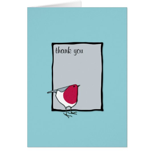 Little Robin grey Thank you Note Card