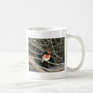 little robin redbreast bird sitting on a twig mug