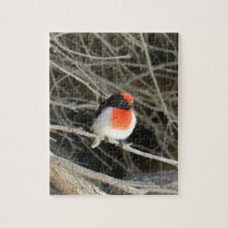 little robin redbreast bird sitting on a twig puzzles