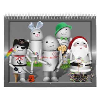 Little Robo-x9 with Metallic Background Calendar